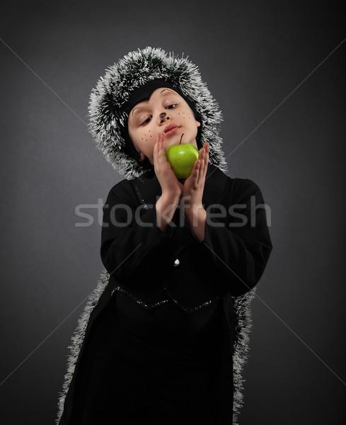 портрет мало мальчика еж костюм Сток-фото © dashapetrenko