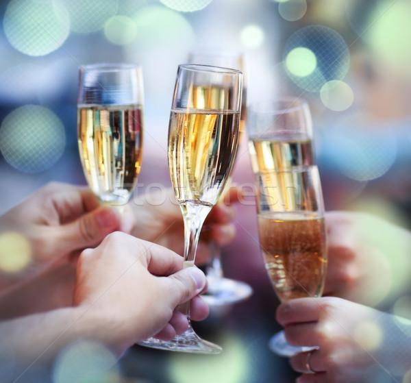 Mensen bril champagne toast Stockfoto © dashapetrenko