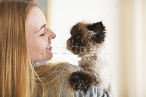 Blond woman with her Persian Cat Extreme Stock photo © dashapetrenko