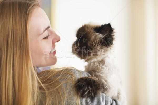 ブロンド 女性 ペルシャ猫 極端な 愛 ファッション ストックフォト © dashapetrenko