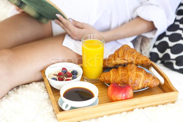Egészséges reggeli kávé narancslé kása könyv Stock fotó © dashapetrenko