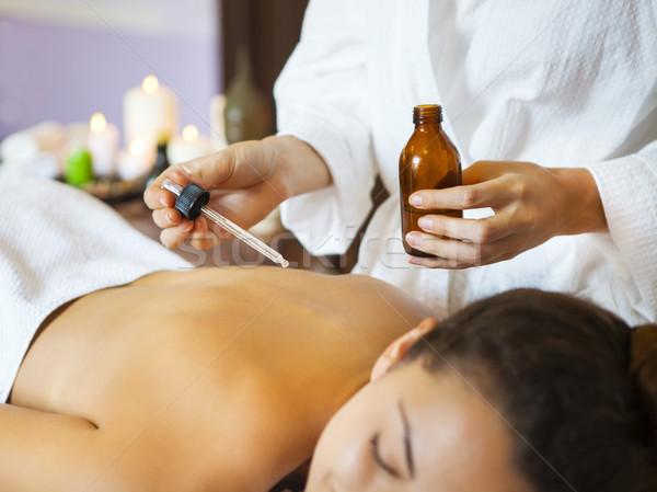 Genç kadın terapi geri masaj kız Stok fotoğraf © dashapetrenko