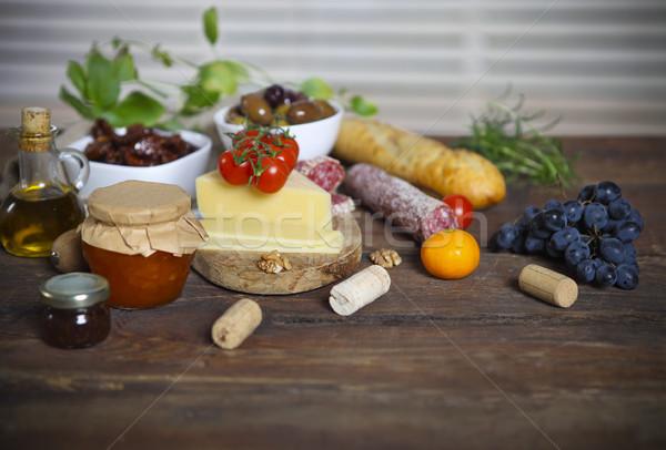 итальянской кухни Ингредиенты деревянный стол фон таблице Сток-фото © dashapetrenko