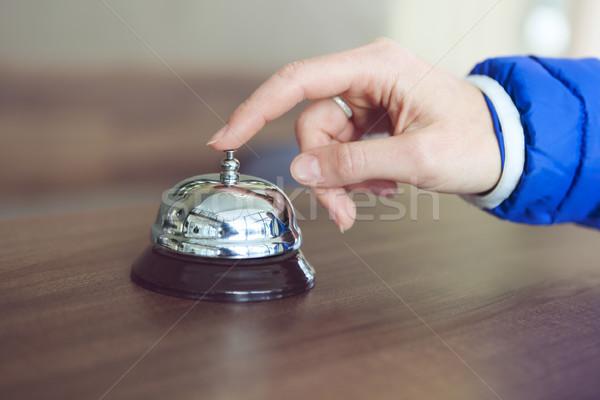 Kéz nő hotel harang retró stílus fém Stock fotó © dashapetrenko