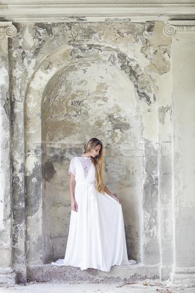 ストックフォト: 美しい · 幸せ · 花嫁 · 白いドレス · 屋外 · 公園