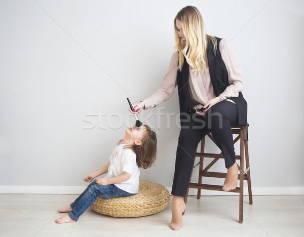 Anya lánygyermek smink egyéb család jókedv Stock fotó © dashapetrenko