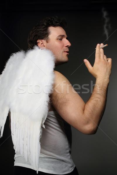 ストックフォト: 天使 · 白 · 翼 · クレイジー · 文字 · 肖像
