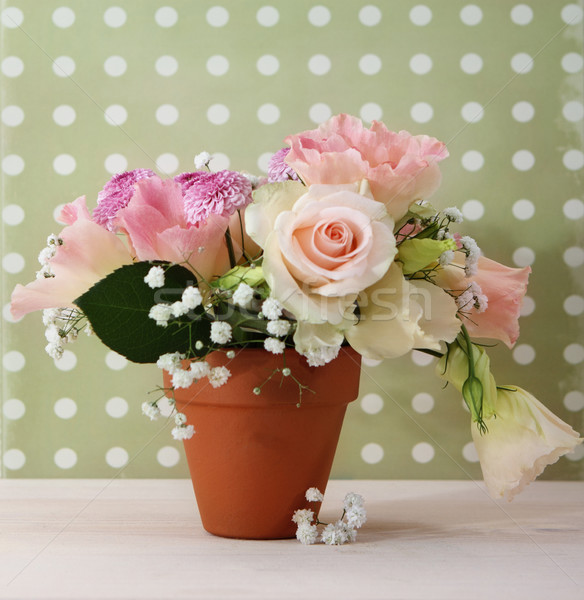Bouquet of white and pink roses  Stock photo © dashapetrenko