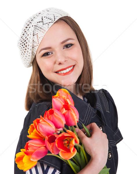 Bonitinho morena menina tulipa flores jovem Foto stock © dashapetrenko
