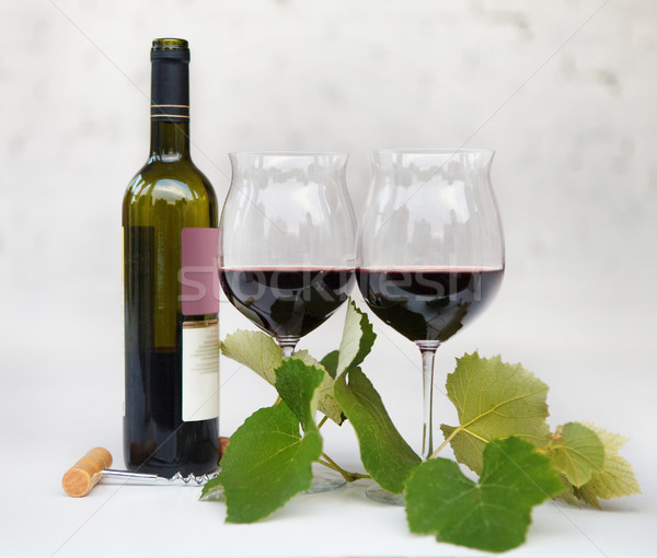 Still life with glasses of red wine Stock photo © dashapetrenko