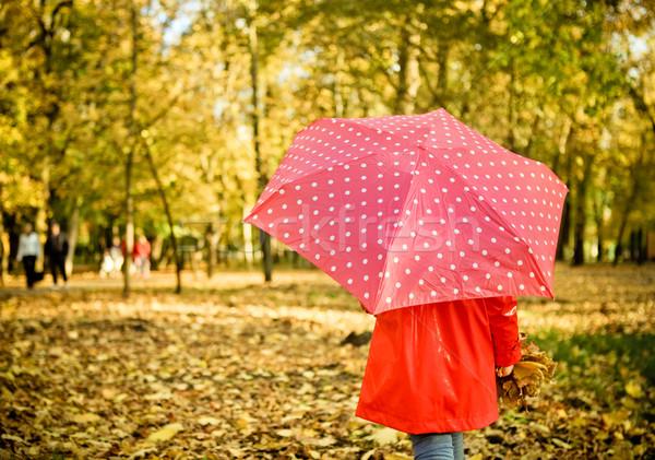 Küçük kız lekeli şemsiye yürüyüş geçit düşmek Stok fotoğraf © dashapetrenko