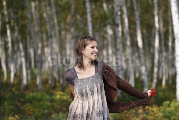 смешной девушки осень улыбка лес портрет Сток-фото © dashapetrenko