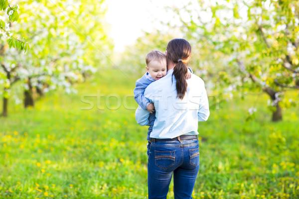 Kicsi baba fiú anya virágzó kert Stock fotó © dashapetrenko
