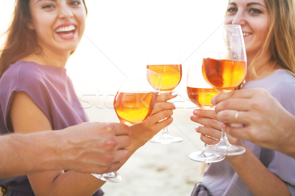 People holding glasses of wine and talking at the beach picnic Stock photo © dashapetrenko