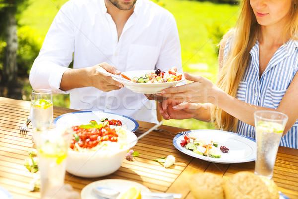 Rodziny obiedzie wybór włoski dania drewniany stół Zdjęcia stock © dashapetrenko