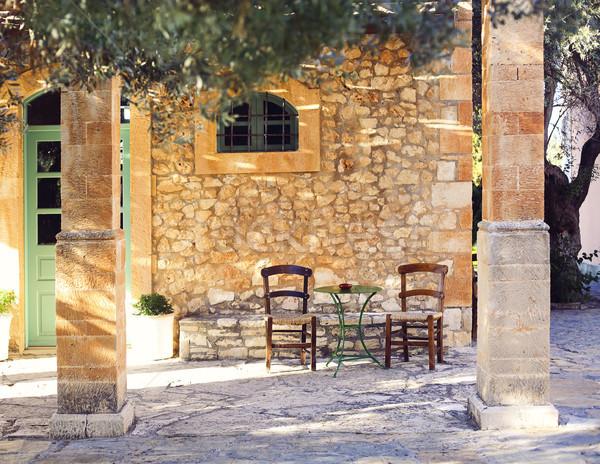 Starych weranda drzewo oliwne stary dom drzwi okno Zdjęcia stock © dashapetrenko