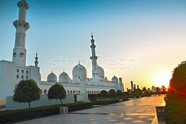 Mesquita noite Emirados Árabes Unidos Abu Dhabi céu adorar Foto stock © dashapetrenko
