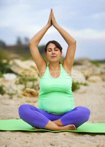 ストックフォト: 妊婦 · スポーツ · 夏 · 屋外 · 美しい