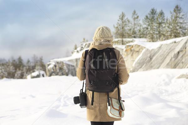 Professional female film photographer in Karelia, Russia Stock photo © dashapetrenko