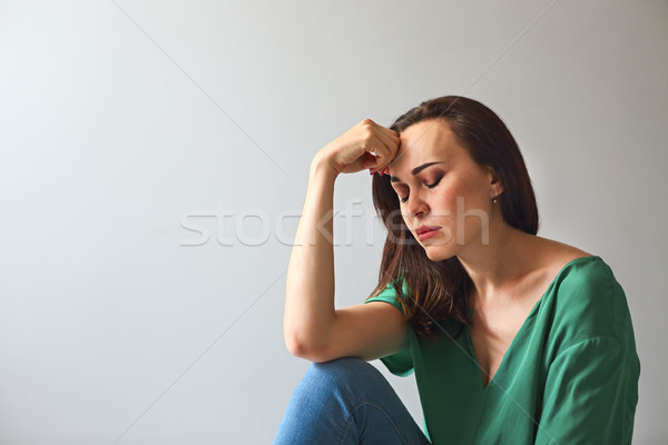 Portrait of a sad woman looking thoughtful about troubles  Stock photo © dashapetrenko