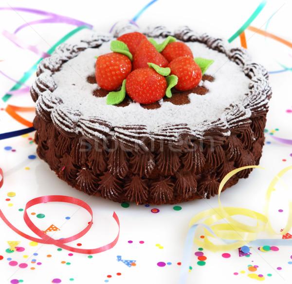 Gâteau fraise gâteau au chocolat décoré fruits fond Photo stock © dashapetrenko