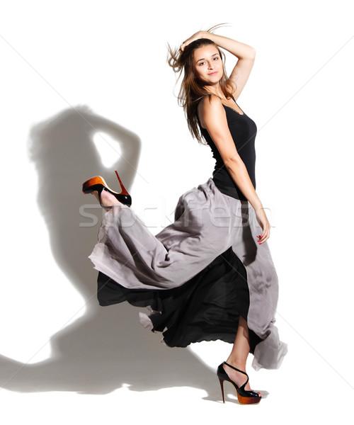Fille heureuse longtemps robe portrait belle brunette Photo stock © dashapetrenko