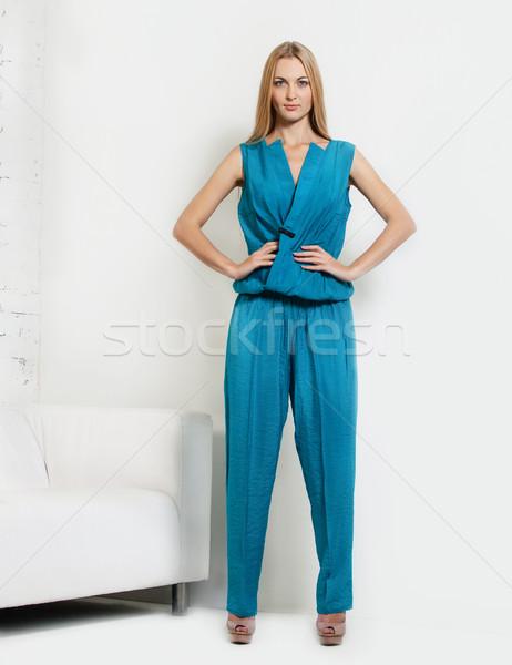 Photo stock: Portrait · belle · fille · bleu · femme