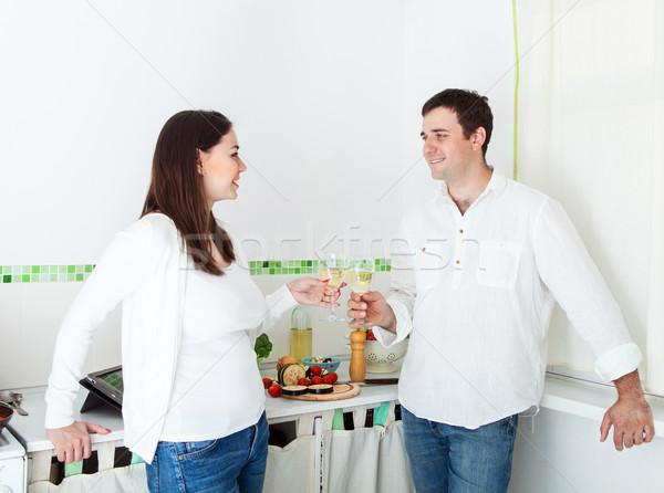Photo stock: Portrait · heureux · couple · potable · blanche