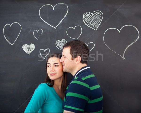 Young couple in love. Chalk drawing  Stock photo © dashapetrenko