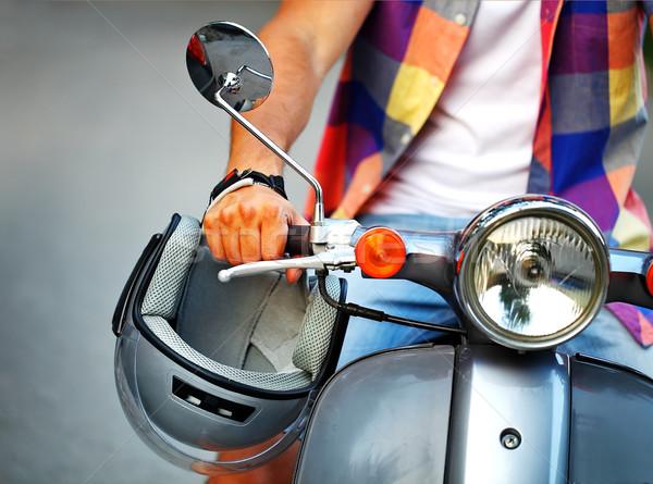 Férfi lovaglás öreg retro moped figyelmeztetés Stock fotó © dashapetrenko