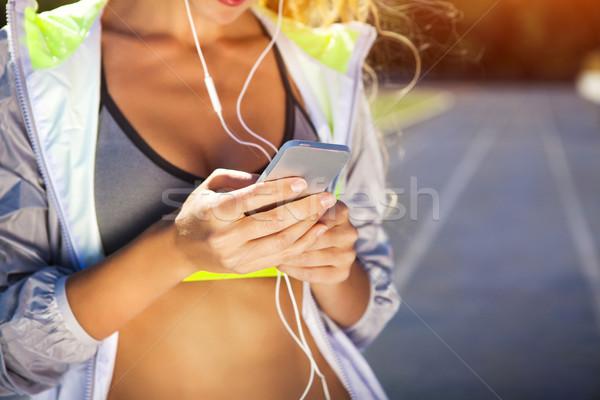 Corredor estádio seguir mulher verão fitness Foto stock © dashapetrenko