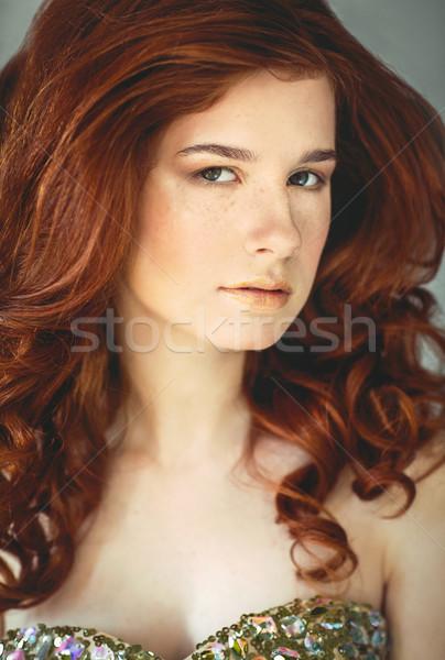 Bella giovani donna lentiggini ritratto Foto d'archivio © dashapetrenko