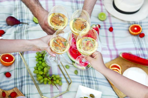 People toasting wineglasses on picnic Stock photo © dashapetrenko