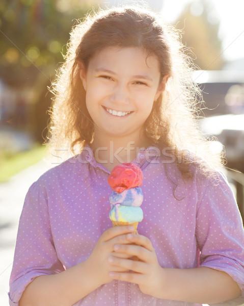 Lány tart fagylalttölcsér kezek kint kicsi Stock fotó © dashapetrenko