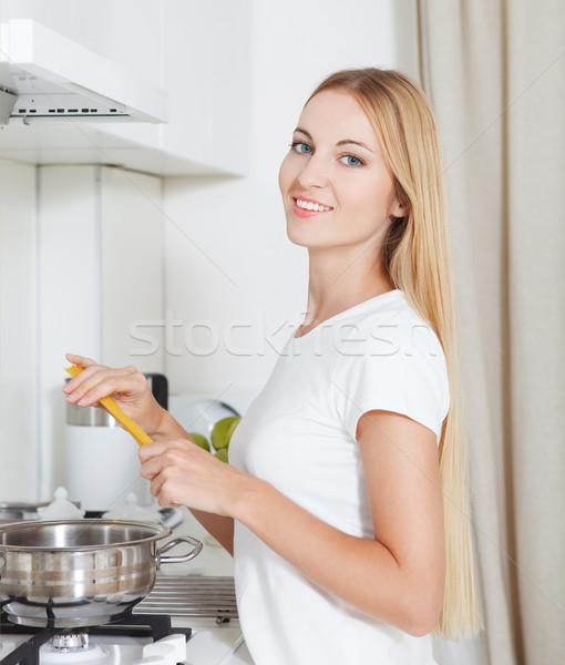 Young woman with spaghetti  Stock photo © dashapetrenko