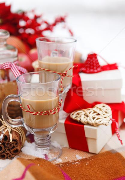 Noel natürmort sıcak çikolata süslemeleri kurabiye elma Stok fotoğraf © dashapetrenko