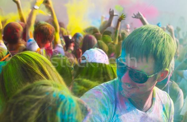 Young man on holi color festival Stock photo © dashapetrenko