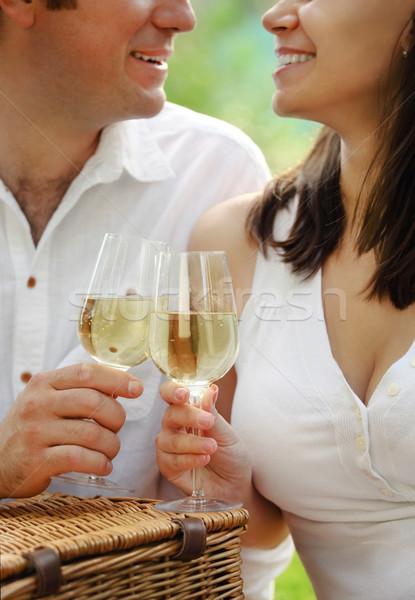 Jovem feliz casal óculos vinho branco Foto stock © dashapetrenko
