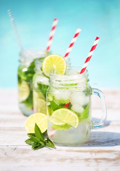 Foto stock: óculos · cal · limonada · piscina · verão · festa