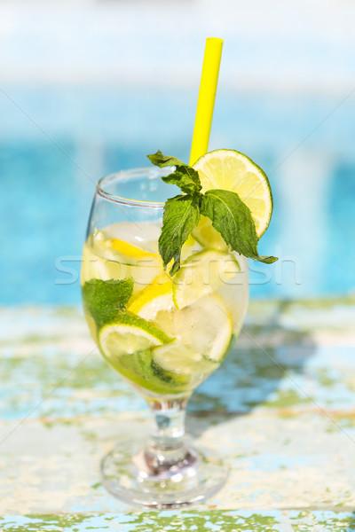 Stok fotoğraf: Gözlük · ev · yapımı · limonata · rustik · ahşap · mavi