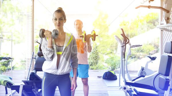 Pár képzés futópad sport centrum egészséges Stock fotó © dashapetrenko