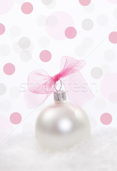 Karácsony dekoráció pöttyös háttér tél rózsaszín Stock fotó © dashapetrenko