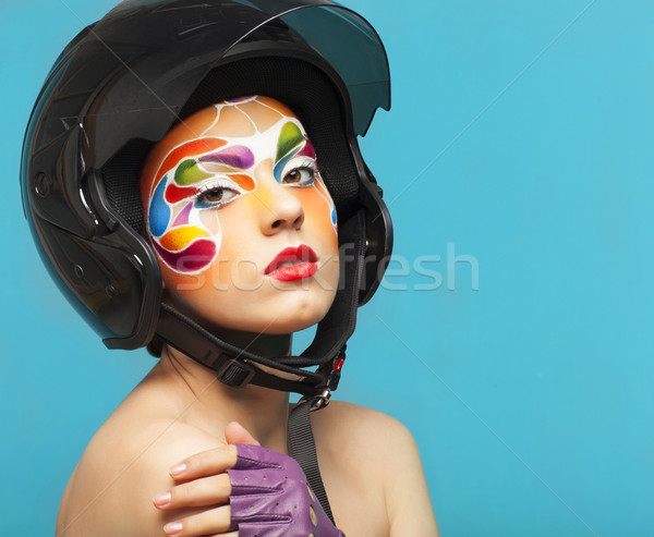 Portrait of a beautiful young model with bright creative make up Stock photo © dashapetrenko