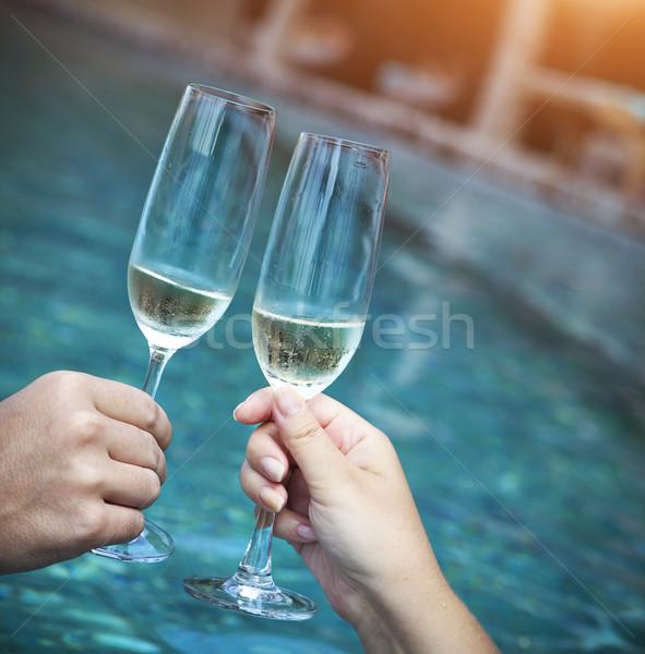 Casal óculos champanhe brinde Foto stock © dashapetrenko