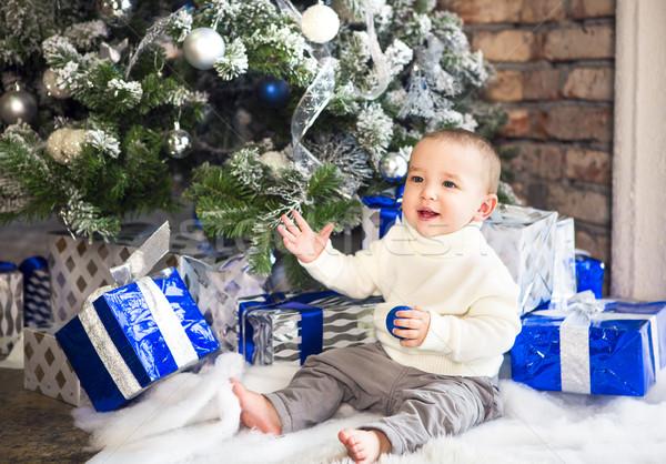 Vicces egyéves baba fiú fényes ünnepi Stock fotó © dashapetrenko