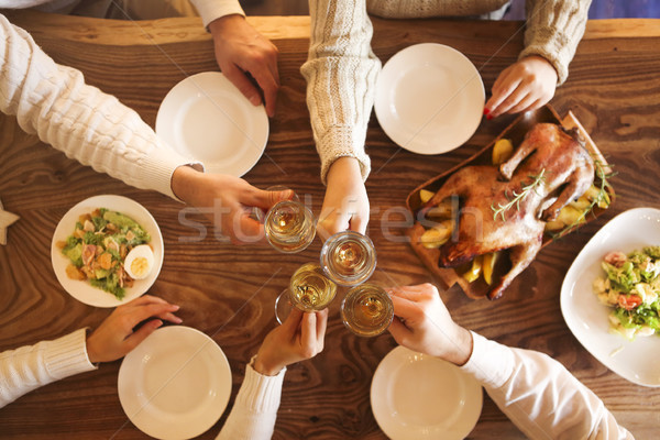 Christmas dinner with roast duck and champagne Stock photo © dashapetrenko