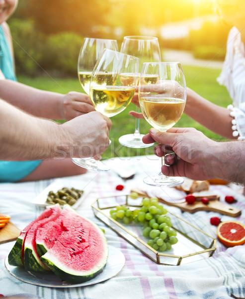 лет пикника белое вино Открытый вечеринка празднования Сток-фото © dashapetrenko