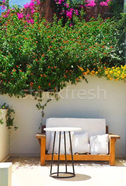 Garden Courtyard with beautiful flowers Stock photo © dashapetrenko