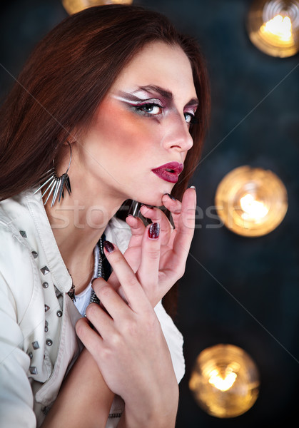 Attractive punk girl with cool make up Stock photo © dashapetrenko