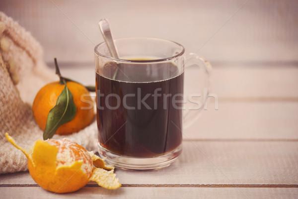 Zwarte koffie licht houten koffie achtergrond witte Stockfoto © dashapetrenko